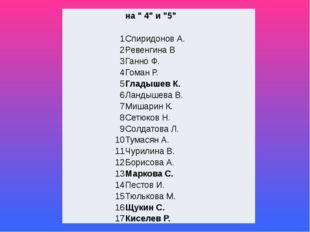 """на """" 4"""" и """"5"""" 1 Спиридонов А. 2 РевенгинаВ 3 ГанноФ. 4 ГоманР. 5 Гладышев К."""