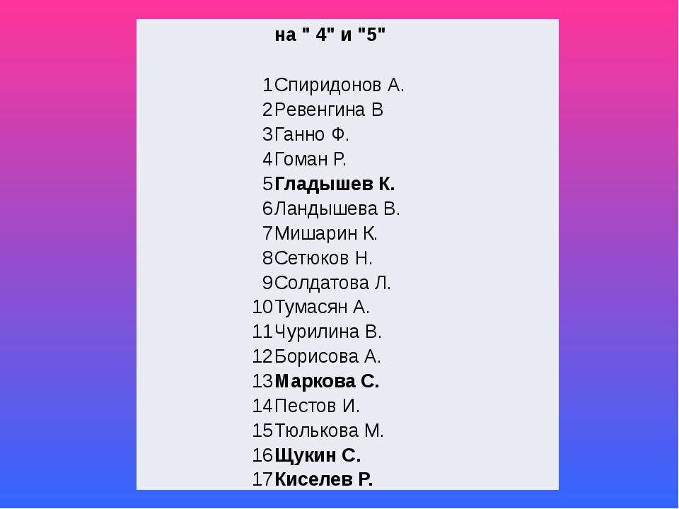 """на """" 4"""" и """"5"""" 1 Спиридонов А. 2 РевенгинаВ 3 ГанноФ. 4 ГоманР. 5 Гладышев К...."""