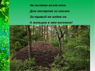 На полянке возле елок Дом построен из иголок За травой не виден он А жильцов