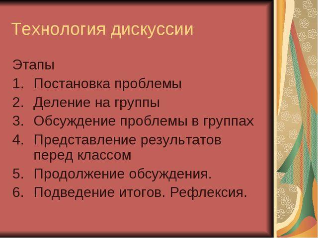 Технология дискуссии Этапы Постановка проблемы Деление на группы Обсуждение п...