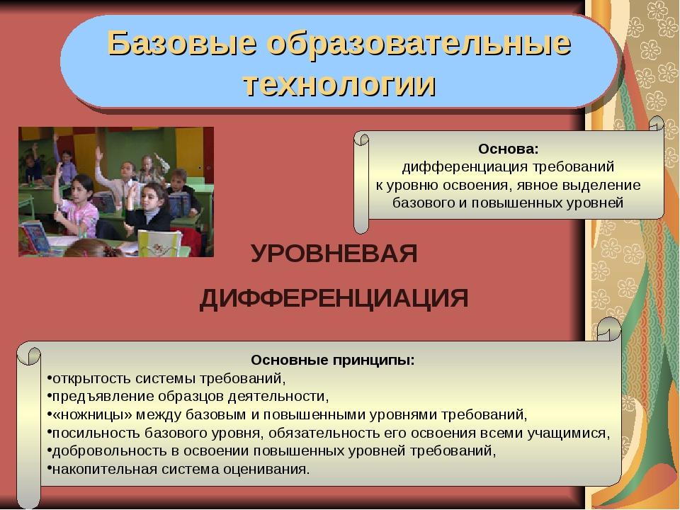 УРОВНЕВАЯ ДИФФЕРЕНЦИАЦИЯ Базовые образовательные технологии Основные принц...