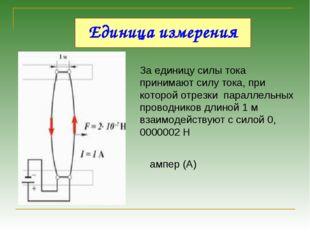 Единица измерения За единицу силы тока принимают силу тока, при которой отрез