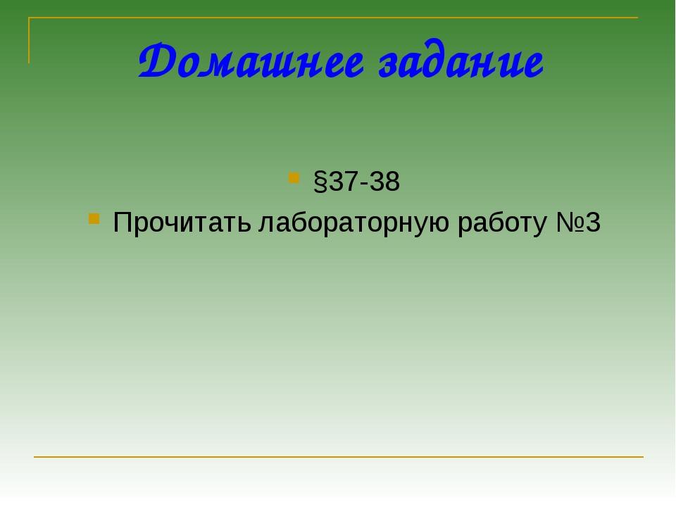 Домашнее задание §37-38 Прочитать лабораторную работу №3