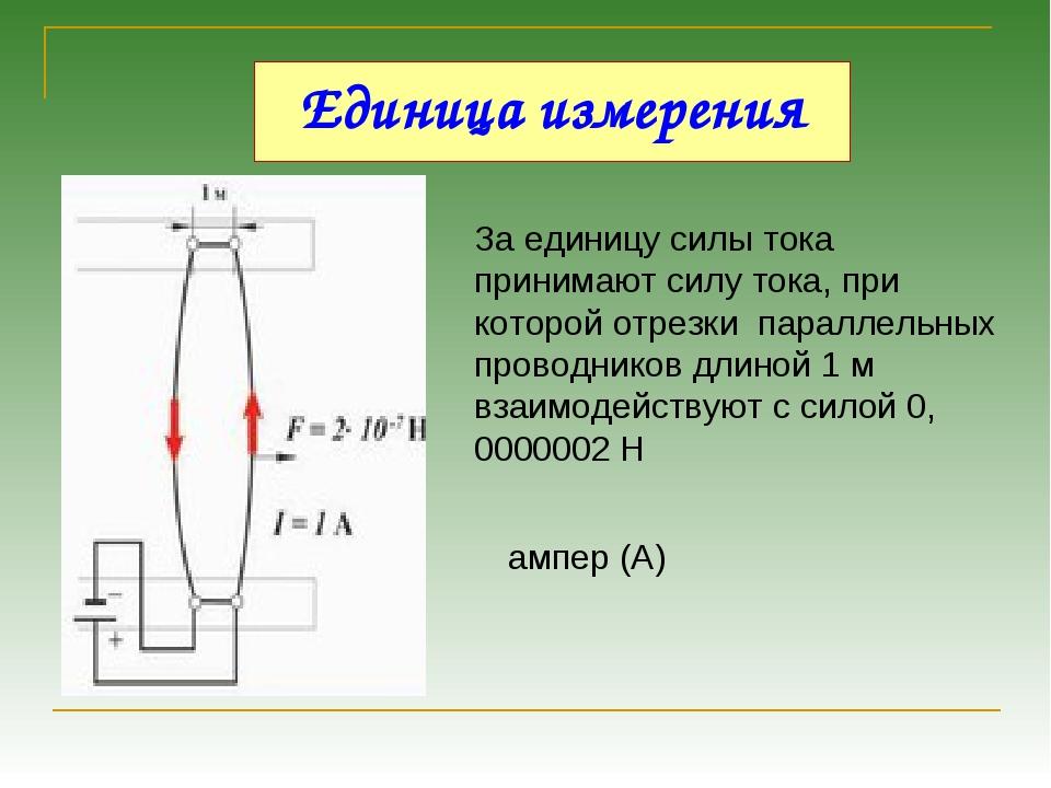 Единица измерения За единицу силы тока принимают силу тока, при которой отрез...