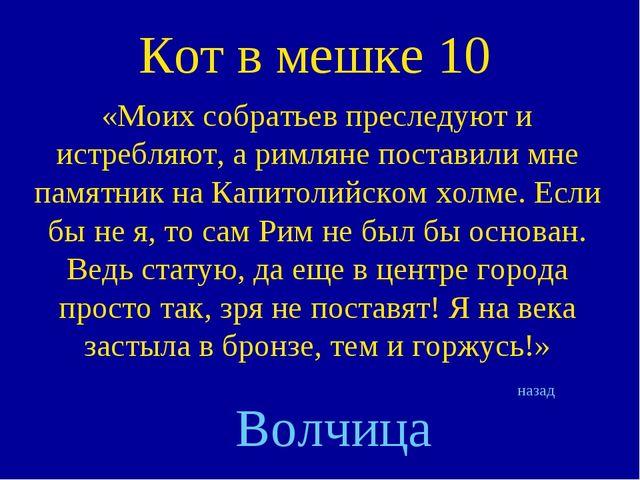 Кот в мешке 10 «Моих собратьев преследуют и истребляют, а римляне поставили м...