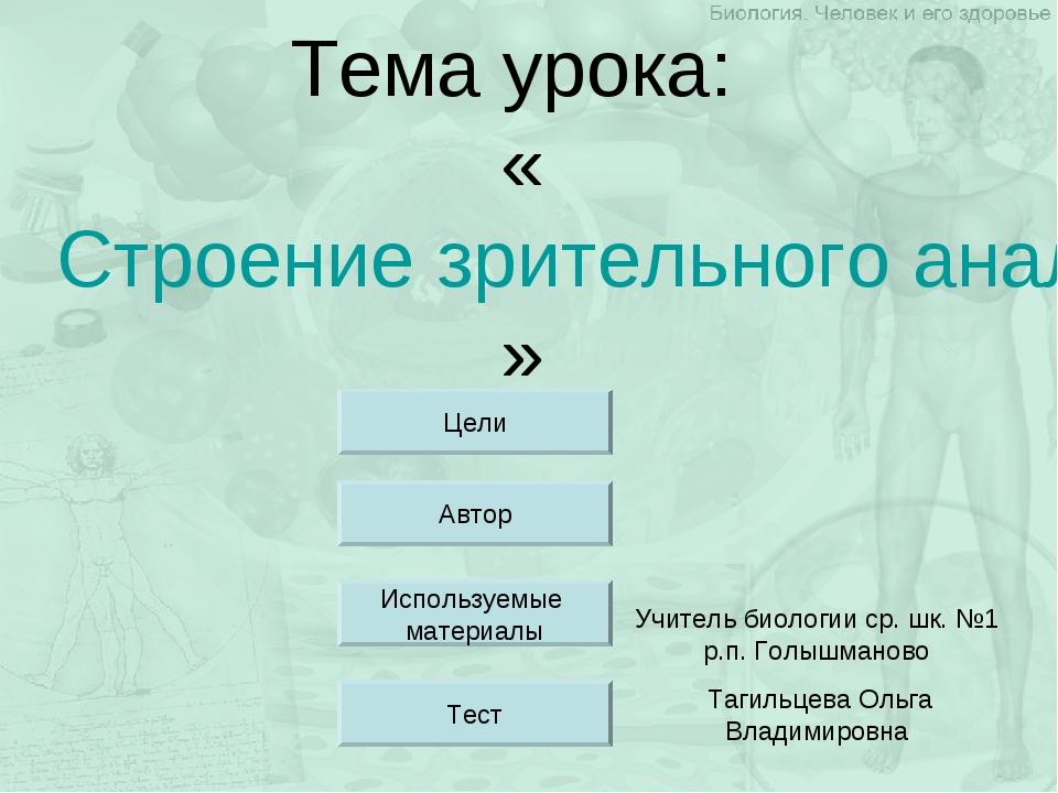 Тема урока: «Строение зрительного анализатора» Учитель биологии ср. шк. №1 р....