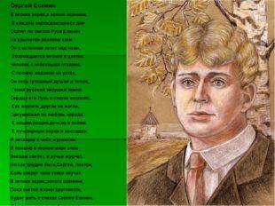 Сергей Есенин В летних зорях,в золоте осеннем, В каждом зарождающемся дне Ска