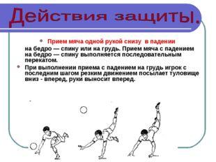 Прием мяча одной рукой снизу в падении на бедро — спину или на грудь. Прием м