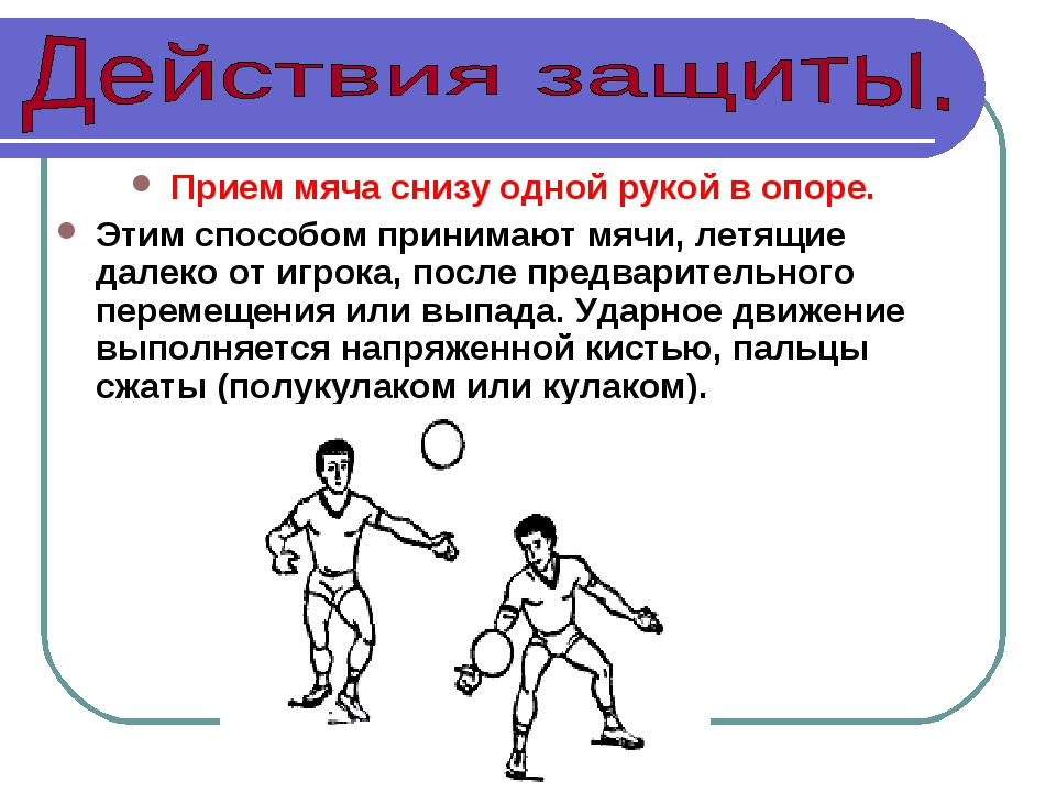 Прием мяча снизу одной рукой в опоре. Этим способом принимают мячи, летящие д...