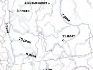 1. п-ов 2.море 3.мыс 4.низменность 5.горы 6.река 7.река 8.плато 9.река 10.рек