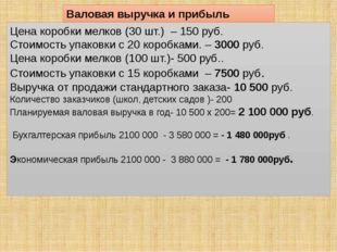Валовая выручка и прибыль Цена коробки мелков (30 шт.) – 150 руб. Стоимость у