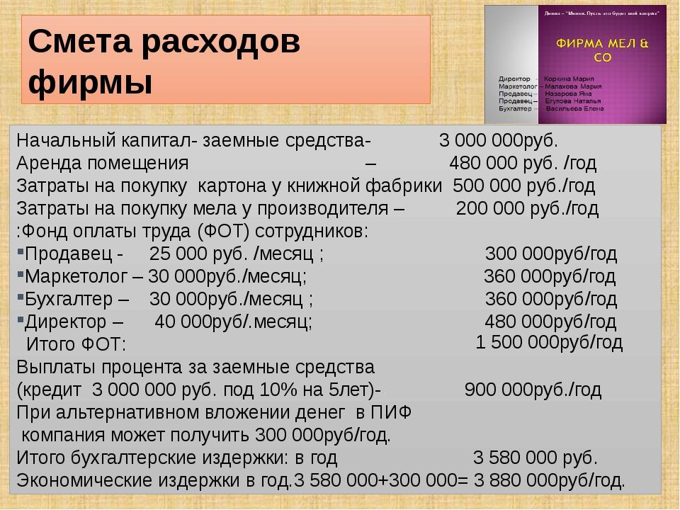 Начальный капитал- заемные средства- 3 000 000руб. Аренда помещения – 480 000...