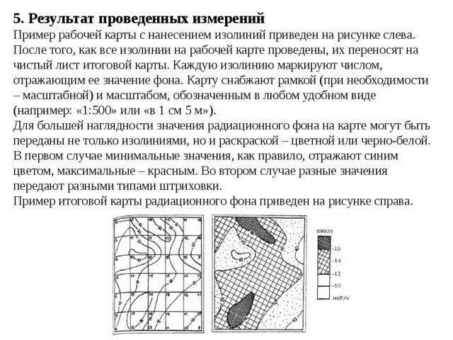 5. Результат проведенных измерений Пример рабочей карты с нанесением изолиний...