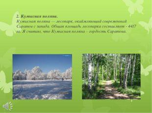 2. Кумысная поляна. Кумысная поляна — лесопарк, окаймляющий современный Сарат