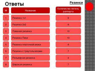 Ответы Резинки № Название Количество петель раппорта 1 2 3 4 5 6 7 8 Резинка