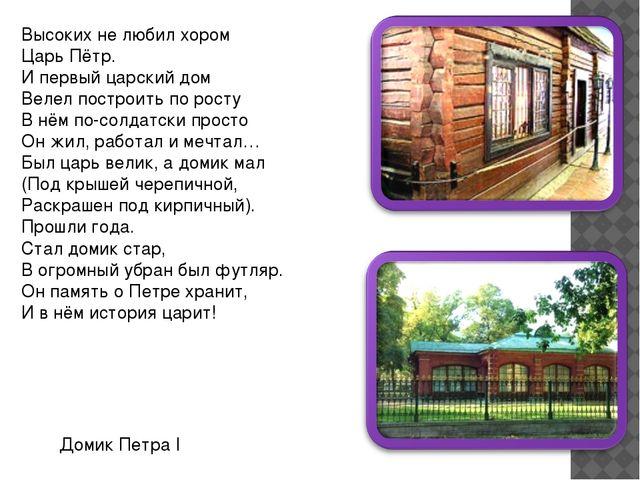 Высоких не любил хором Царь Пётр. И первый царский дом Велел построить по рос...
