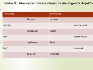 Sektor 3: Ubersetzen Sie ins Deutsche die folgende Adjektive. 1команда 2 кома