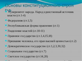 Основы конституционного строя РФ Суверенитет народа. Народ единственный источ