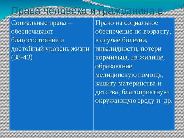 Права человека и гражданина в РФ Социальные права – обеспечивают благосостоян...