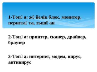 1-Топқа: жүйелік блок, монитор, пернетақта, тышқан 2-Топқа: принтер, сканер,