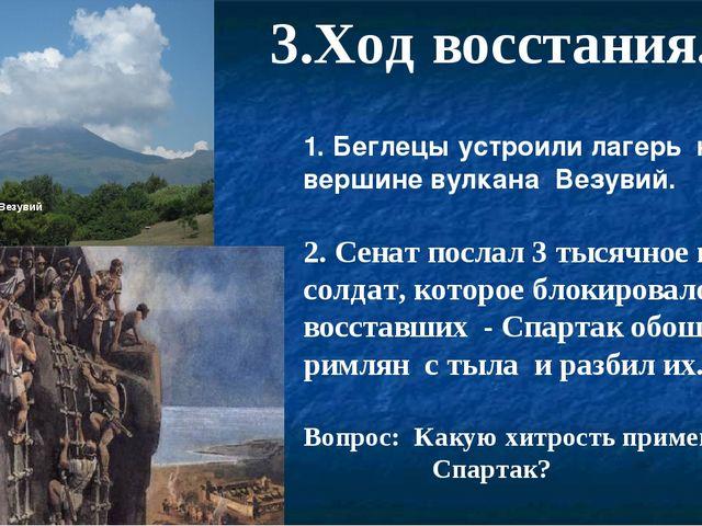 Везувий 3.Ход восстания. 1. Беглецы устроили лагерь на вершине вулкана Везуви...