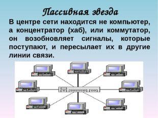 Пассивная звезда В центре сети находится не компьютер, а концентратор (хаб),