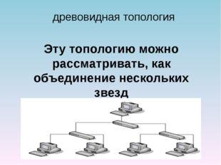 древовидная топология Эту топологию можно рассматривать, как объединение неск