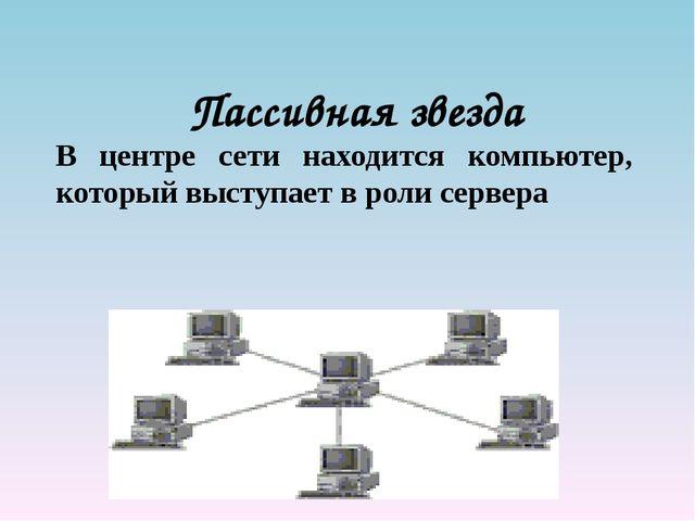 Пассивная звезда В центре сети находится компьютер, который выступает в роли...