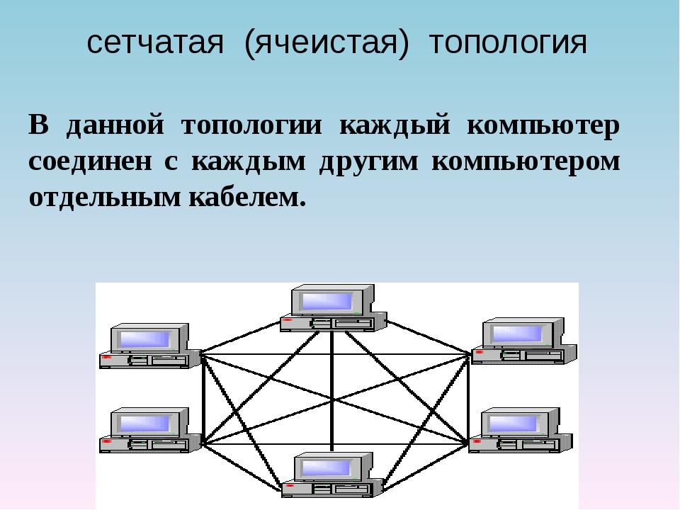 сетчатая (ячеистая) топология В данной топологии каждый компьютер соединен с...