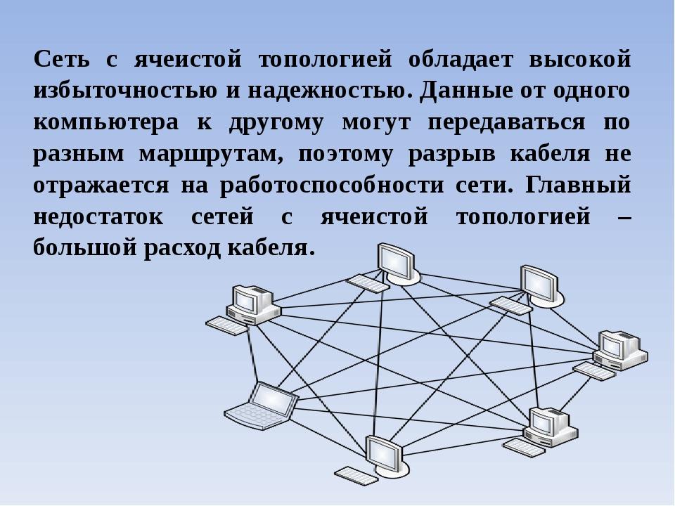 Сеть с ячеистой топологией обладает высокой избыточностью и надежностью. Данн...