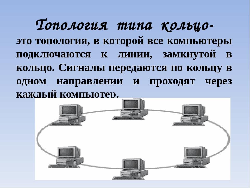 Топология типа кольцо- это топология, в которой все компьютеры подключаются к...