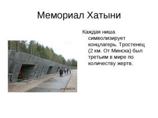 Мемориал Хатыни Каждая ниша символизирует концлагерь. Тростенец (2 км. От Мин