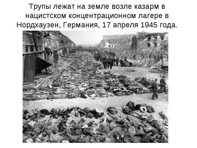 Трупы лежат на земле возле казарм в нацистском концентрационном лагере в Норд...
