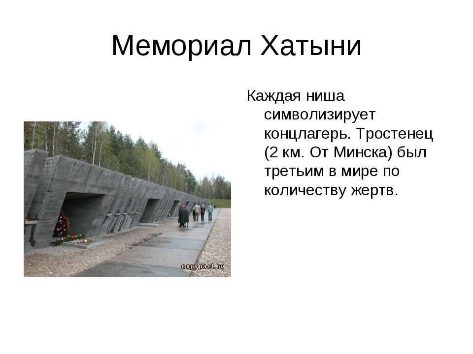 Мемориал Хатыни Каждая ниша символизирует концлагерь. Тростенец (2 км. От Мин...