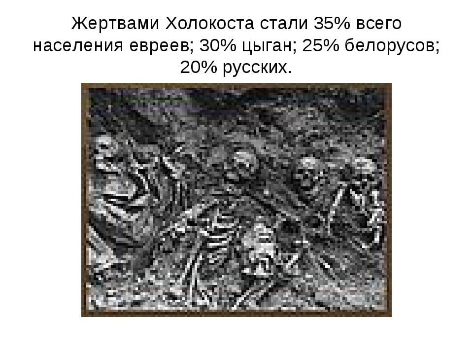 Жертвами Холокоста стали 35% всего населения евреев; 30% цыган; 25% белорусов...