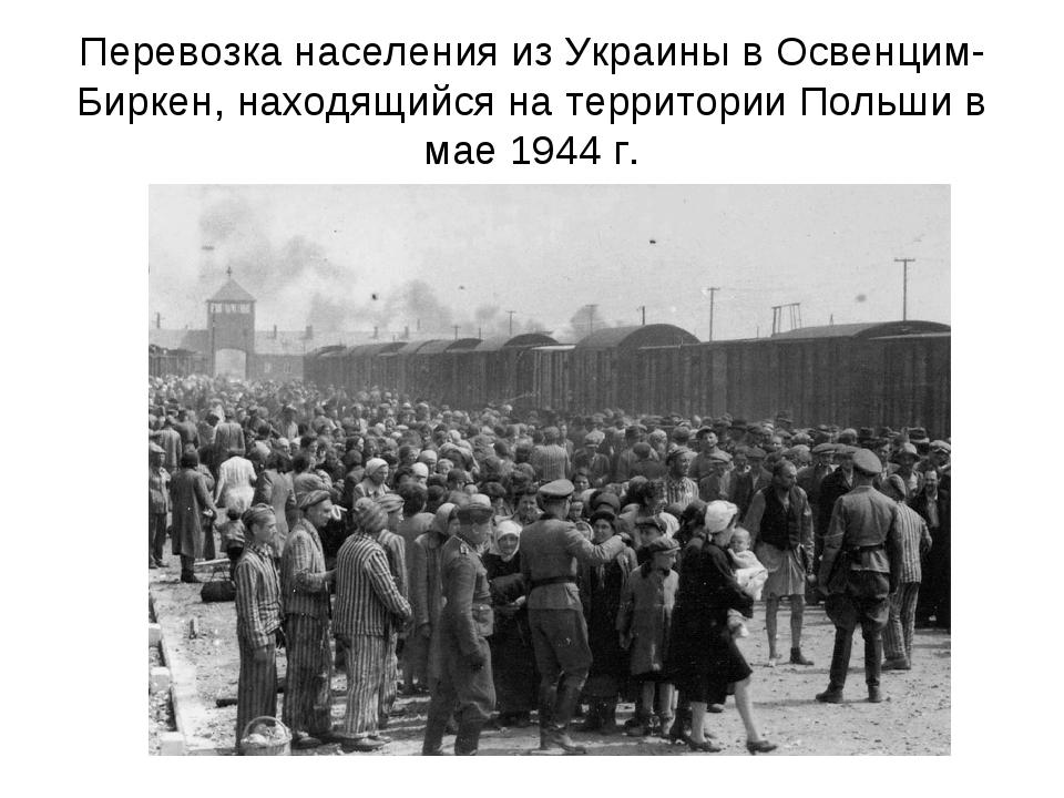 Перевозка населения из Украины в Освенцим- Биркен, находящийся на территории...