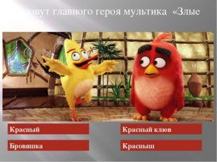Как зовут главного героя мультика «Злые птицы»? Красный Бровяшка Красный клюв