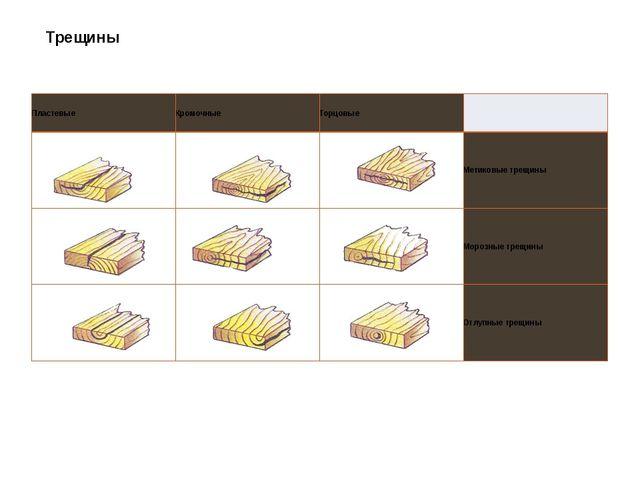 Трещины Пластевые Кромочные Торцовые  Метиковые трещины Морозные трещины Отл...