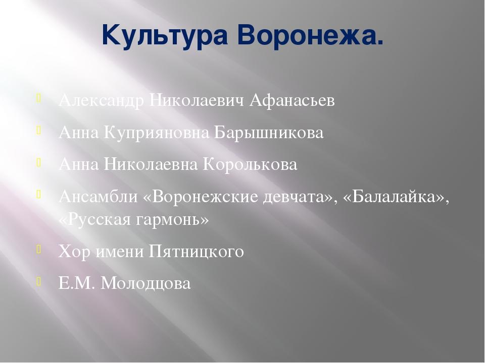 Культура Воронежа. Александр Николаевич Афанасьев Анна Куприяновна Барышников...