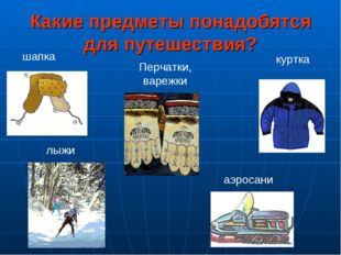Какие предметы понадобятся для путешествия? шапка куртка Перчатки, варежки лы