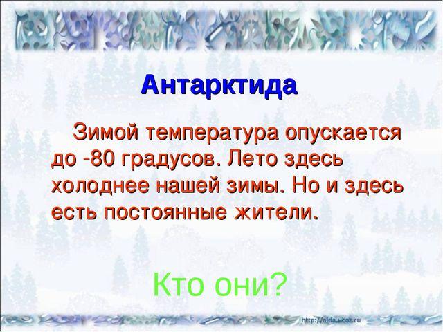 Антарктида Зимой температура опускается до -80 градусов. Лето здесь холоднее...