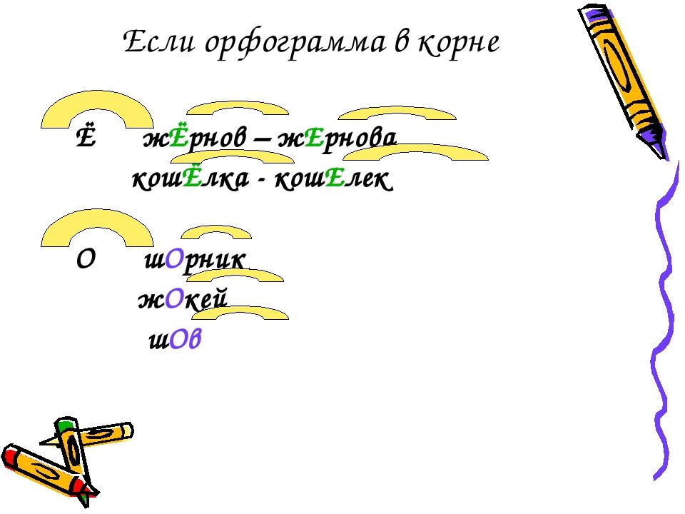 Если орфограмма в корне Ё жЁрнов – жЕрнова кошЁлка - кошЕлек О шОрник жОкей шОв