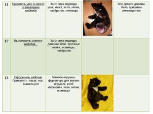 11 Пришить уши и хвост к заготовке медведя Заготовка медведя, уши, хвост, игл