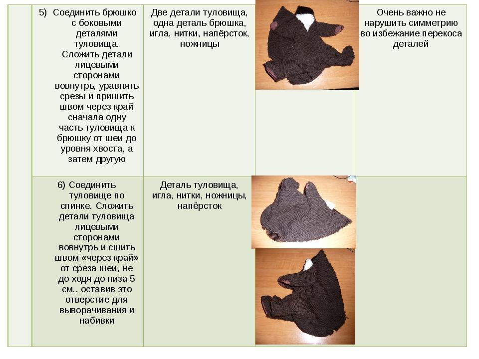 5) Соединить брюшко с боковыми деталями туловища. Сложить детали лицевыми ст...