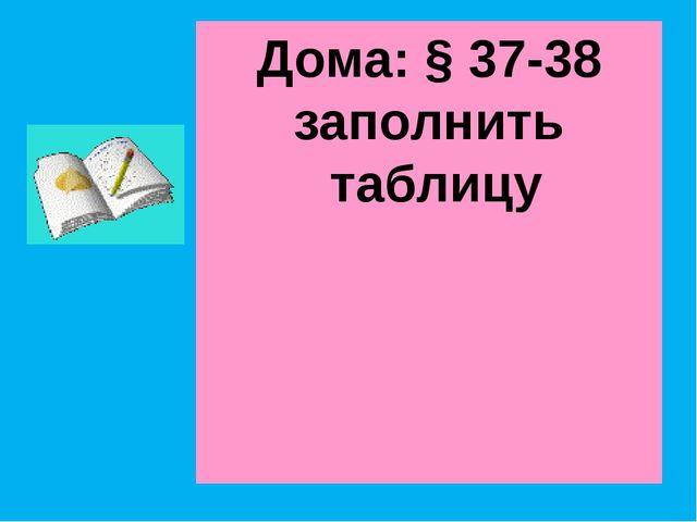 Дома: § 37-38 заполнить таблицу
