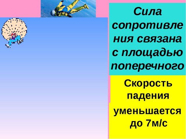 Сила сопротивления связана с площадью поперечного сечения Скорость падения че...