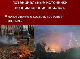 потенциальные источники возникновения пожара. непотушенные костры, грозовые р