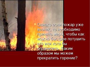 Однако если пожар уже возник, то необходимо принять меры, чтобы как можно быс