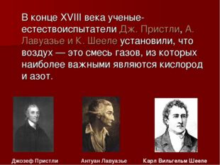 В конце XVIII века ученые-естествоиспытатели Дж. Пристли, А. Лавуазье и К. Ш