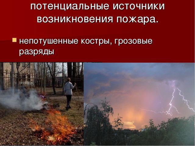 потенциальные источники возникновения пожара. непотушенные костры, грозовые р...